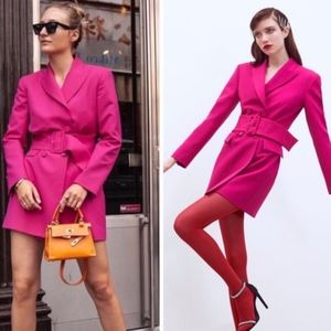 NWT HOT PINK FUCHSIA BELTED BLAZER DRESS 🔥🔥